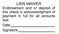 Lien Waiver Rubber Stamps