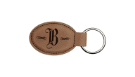 LEATHER-KEYCHAIN-OVAL - Leather Key Chain (Dk Brown 3x1.75 Oval)
