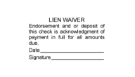 Offering a great check endorsement stamp and lien waiver stamps at the lowest prices!