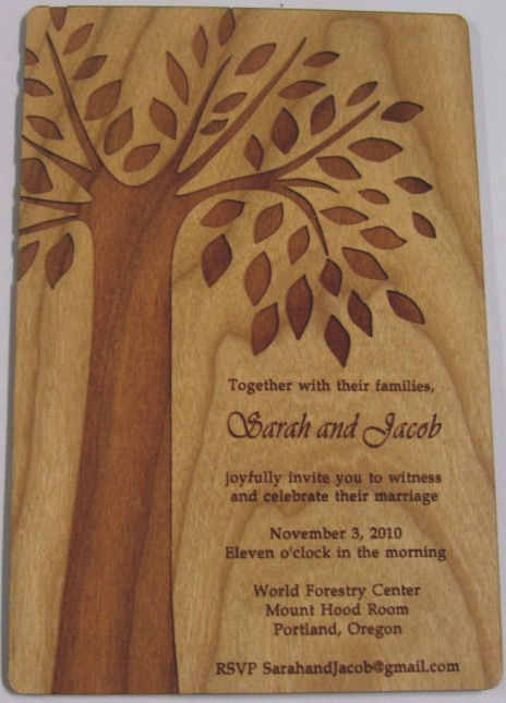 Wooden Invitations Tree Sample